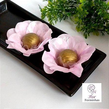 50 Forminhas Flor Primavera Papel Rosa Bebe- F012