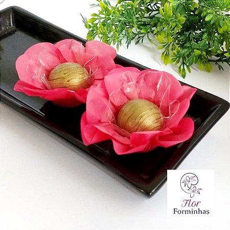 50 Forminhas Flor Primavera Papel Goiaba - F012