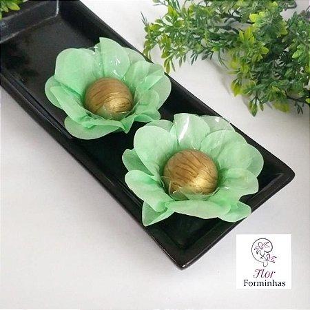 50 Forminhas Flor Primavera Papel Verde Claro- F012