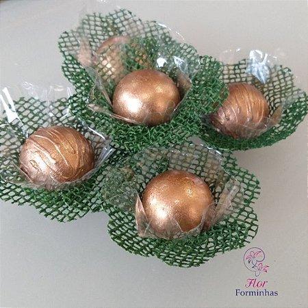 50 Forminhas Rustica Flor Pessego Verde Floresta - F048