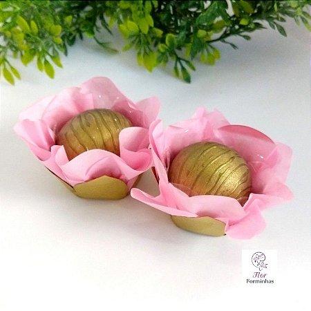 50 Forminhas Flor Camélia Base Dourada Rosa Cha - F041