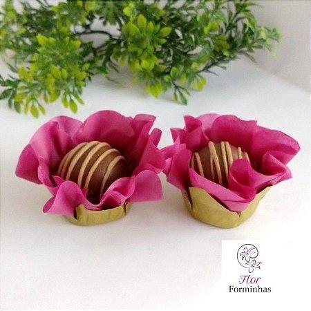 50 Forminhas Flor Primavera Base Dourada G Vinho- F037