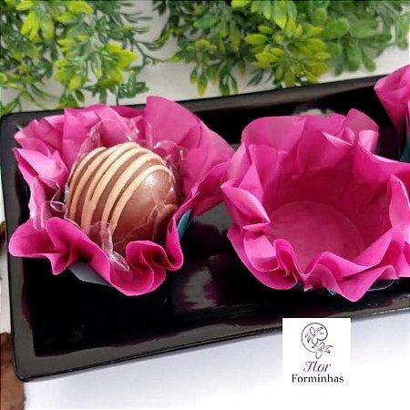 50 Forminhas Flor Primavera G Vinho - F038