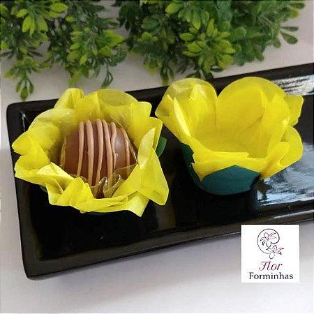 50 Forminhas Flor Primavera G Amarelo  - F038