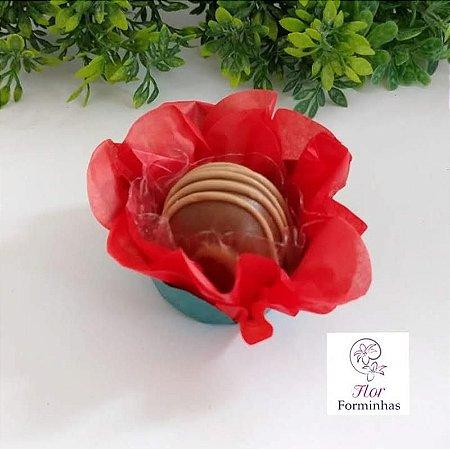 50 Forminhas Flor Primavera G Vermelho - F038