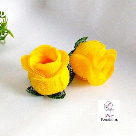25 Forminhas para doces Flor Botão Rosa - Amarelo  - F044