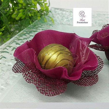 25 Forminhas Flor Pêssego em Tafeta Marsala F015