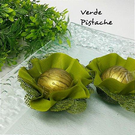25 Forminhas Flor Pêssego em Tafeta Verde Pistache F015