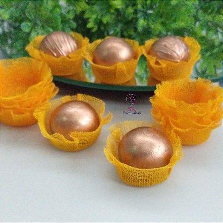 50 Forminhas Cestinha Amarelo Ouro F026