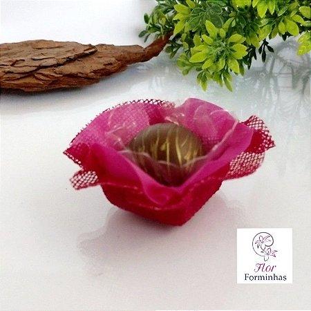 50 Forminhas Quadradas Rosa Primavera F030