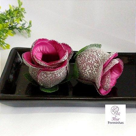 25 Forminhas para doces Flor Botão Rosa Vinho F054