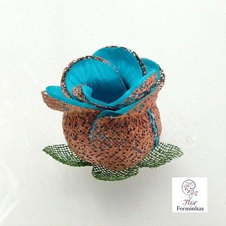 25 Forminhas para doces Flor Botão Rosa Rose Gold - Tifany - F053