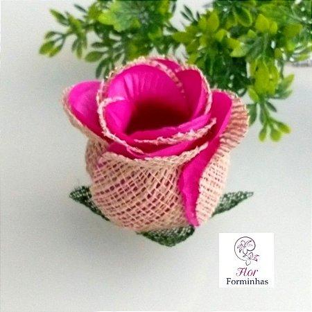 25 Forminhas para doces Flor Botão Rosa Rústico em Juta Pink- F055