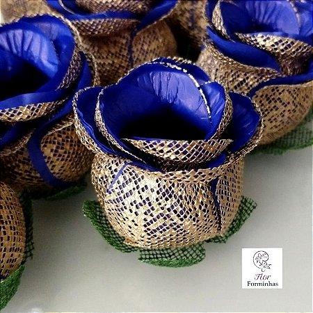 25 Forminhas para doces Flor Botão Rosa - Azul Escuro - F043