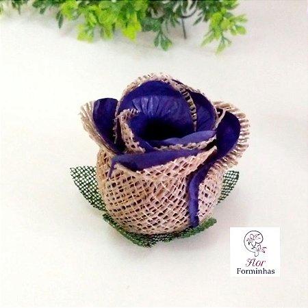 25 Forminhas para doces Flor Botão Rosa Rústico -Azul Escuro - F055