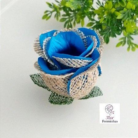 25 Forminhas para doces Flor Botão Rosa Rústico em Juta Turquesa - F055
