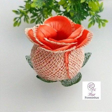 25 Forminhas para doces Flor Botão Rosa Rústico em Juta Laranja - F055