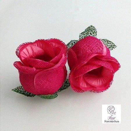 25 Forminhas para doces Flor Botão Rosa- Cereja - F044