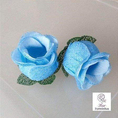 25 Forminhas para doces Flor Botão Rosa- Azul Bebe -F044