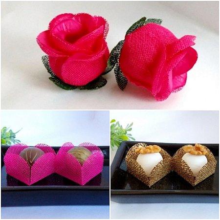 Kit Forminhas Para Doces Luxo Botao De Rosa Casamento PINK