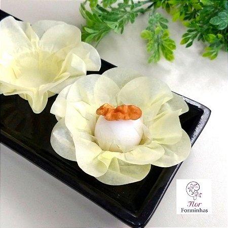 50 Forminhas Flor Primavera Papel Amarelo Bb F012