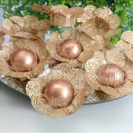 50 Forminhas Flor 4 Coracoes Dourado- F056