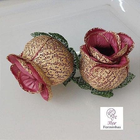 25 Forminhas para doces Flor Botão Rosa - Marsala - F043