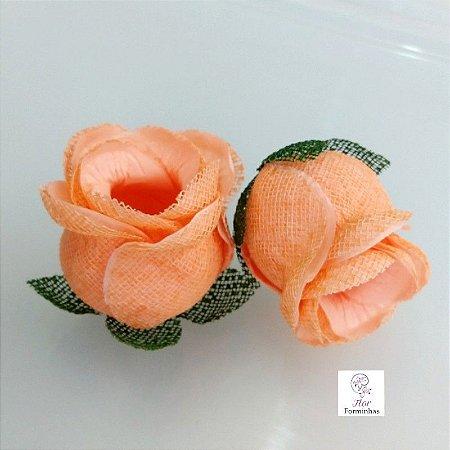 25 Forminhas para doces Flor Botão Rosa - Salmao - F044