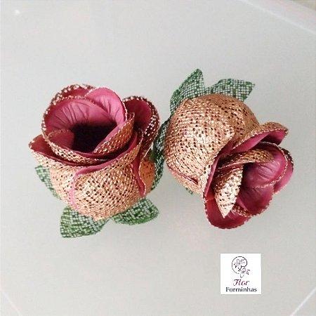 Forminhas para doces Flor Botão Rosa Rose Gold - Marsala - F053