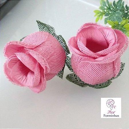 25 Forminhas para doces Flor Botão Rosa  - Rosê F044