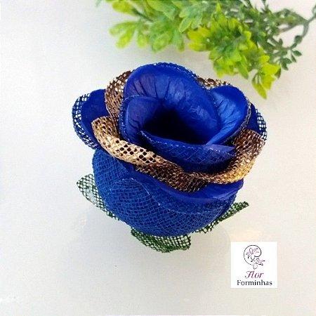 20 Forminhas para doces Flor Botão Rosa Super Luxo Azul Escuro com Dourado- F059