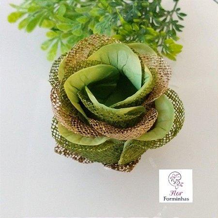 20 Forminhas para doces Flor Botão Rosa Super Luxo Verde Pistache - F059