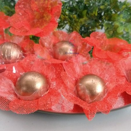 50 Forminhas Flor 4 Coracoes Coral- F056