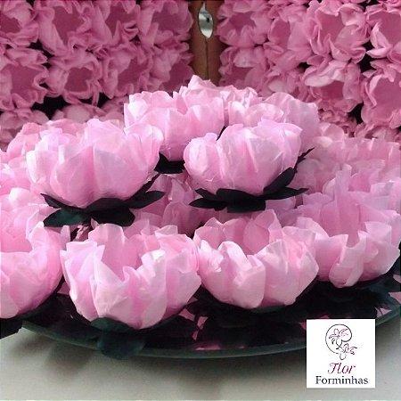 25 Forminhas Flor Gerbera Papel Rosa bb- F062
