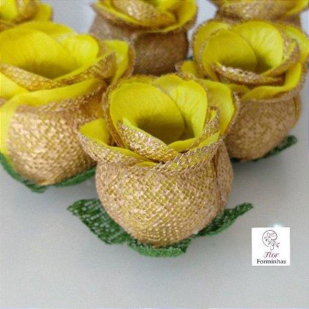 25 Forminhas para doces Flor Botão Rosa Amarelo com dourado - F043
