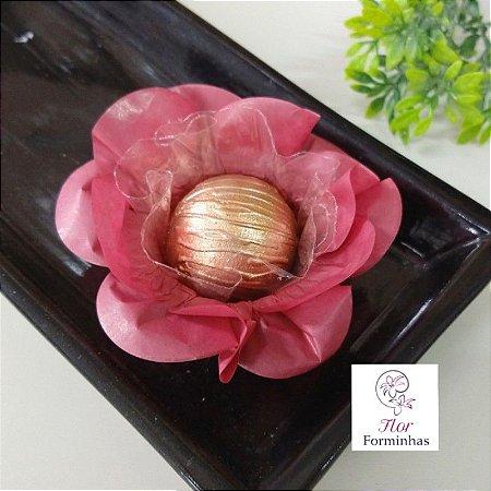 kit 400 Forminhas Flor Primavera Papel Marsala- F012