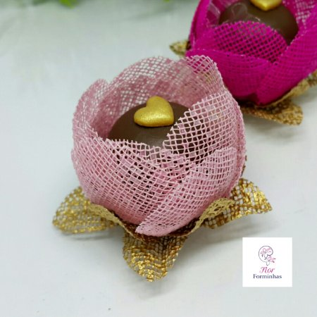 25 Formas para doces - Botão Camelia Rosa bb - F018