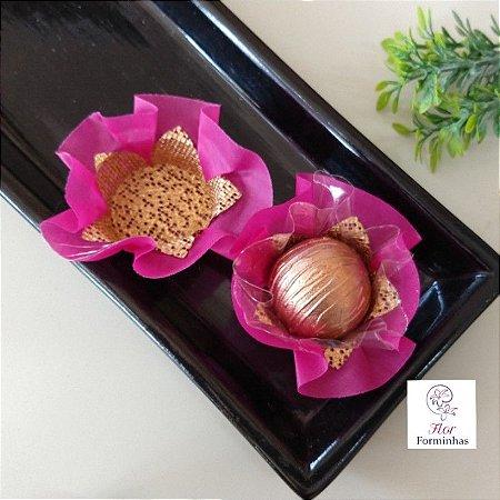 50 Forminhas Cestaflor Tafeta Rosa Primavera - F010