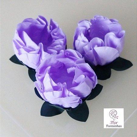 25 Forminhas Flor Gerbera Papel Lilás Claro- F062