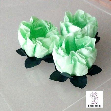 25 Forminhas Flor Gerbera Papel Verde Claro- F062