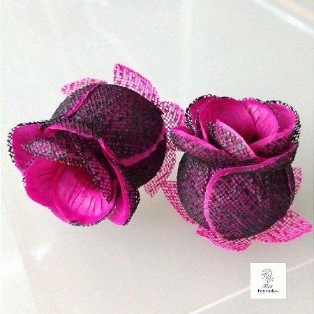 25 Forminhas para doces Flor Botão Preto e Pink  - F044