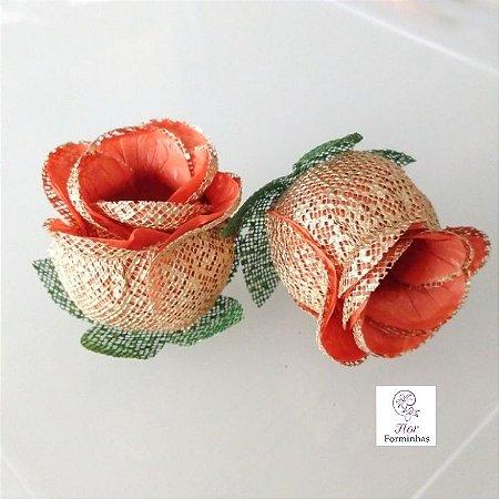 25 Forminhas para doces Flor Botão Rosa Laranja  - F043