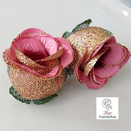 25 Forminhas para doces Flor Botão Rosa Rosê  - F043