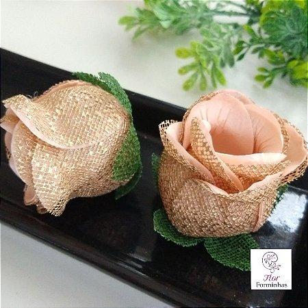 25 Forminhas para doces Flor Botão Rosa Pêssego  - F043