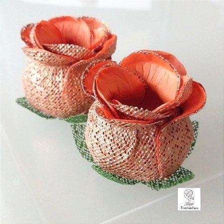 25 Forminhas para doces Flor Botão Rosa Rose Gold - Laranja - F053