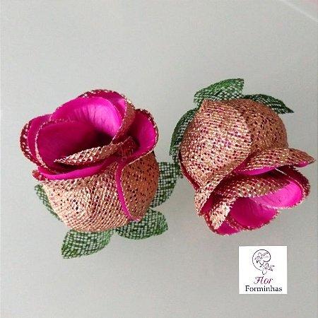 25 Forminhas para doces Flor Botão Rosa Rose Gold -Pink - F053
