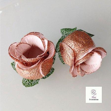 25 Forminhas para doces Flor Botão Rosa Rose Gold -Off White - F053