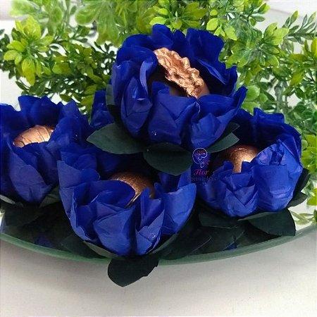 25 Forminhas Flor Gerbera Papel Azul Escuro- F062
