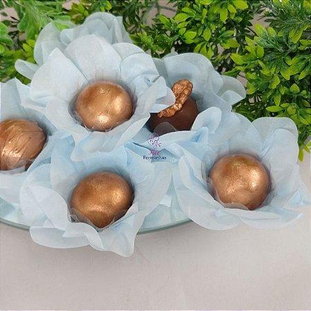 50 Forminhas Flor Primavera Papel Azul Bebe- F012