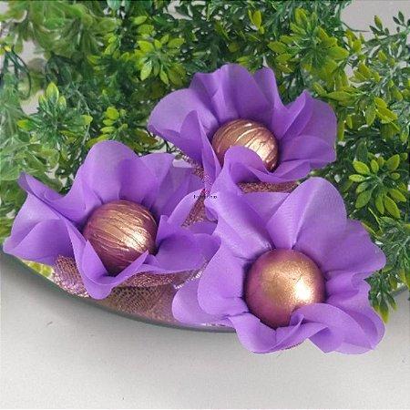 25 Forminhas Flor Primavera Roxo F016